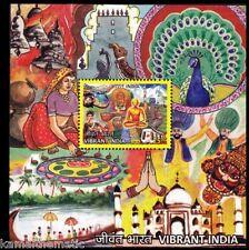 Vibrant INDIA 2016 MNH SS, Buddha, Train, Elephant, Peacock, Taj Mahal  -X12