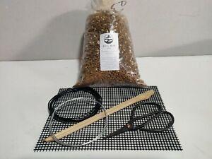 BONSAI Repot Kit , soil mix, mesh 15cm x 20cm, wire x 2 , scissors ,chopstick