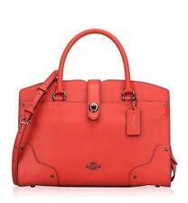 NWT Coach Mercer Satchel 30 in Grain Leather deep Coral 25019E