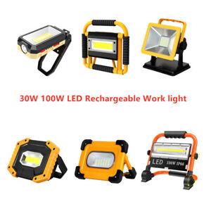 100W Solar LED USB Work Light Flood Light Rechargeable Outdoor Torch Lamp UK