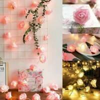 10/20 LED Rose Light String Fairy Lights For Bedroom Xmas Wedding Party Decor
