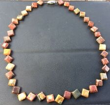 Natural 8 X 8mm Square Picasso Jasper Gemstone Necklace Hand Made 18''