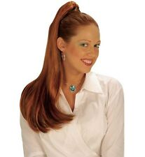 Ladies Long Red Ginger Straight Hair Extension Wig Princess 60s 70s Fancy Dress