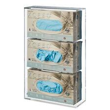 Triple Side-Loading Medical Dental Glove Box Dispenser Holder Clear Acrylic 1 ea
