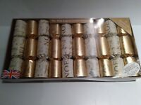 Xmas crackers Set The Olde English Co gold & white 10 NEW Holiday