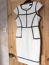 Dorothy Perkins Forrado Vestido Blanco y Negro Tamaño 12