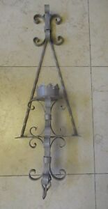 """Huge Vintage Wrought Iron Sconce 39"""" tall 12"""" wide  Hand Made"""
