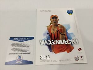 Caroline Wozniacki Signed Autographed 5x7 W&S Tennis Card Beckett BAS COA a