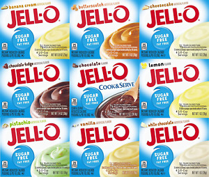 Jell-O Sugar Free Instant Pudding Sampler Pack of 9 Different Flavors 0.9-1.4oz
