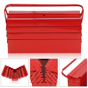 Large Red Metal Storage Cantilever Tool box Organiser 4 Tier 7 Tray 530mm UK