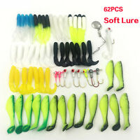 62Pcs Fishing Tackle Silicone Soft Baits Lures Fishing Jig Hooks Carp Accessory