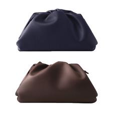 Women Simple Designer Dumplings Large Handbag Clutch Bag | Blue, Brown, & Green