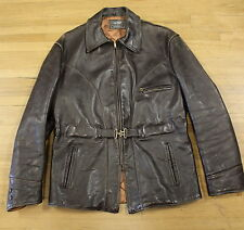 vintage 40s 50s HURCULES horsehide LEATHER JACKET size 40 motorcycle BUCKLE