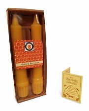 "100% Pure Beeswax 6"" Colonial Taper Candle Pair, Natural Honey Scent"