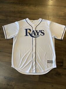 Tampa Bay Rays Majestic COOL BASE stiched button down Jersey White Men's Large