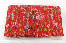 Indian handmade Bird Print Queen  Ralli kantha quilt Bedspread Red Quilt Cotton