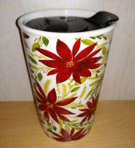 Threshold Porcelain Christmas Holiday Poinsettia Flower Coffee Mug Tea Cup Lid