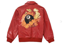 Supreme Schott Martin Wong 8 Ball Leather Varsity Jacket Red