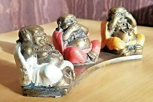 Hear see speak no evil laughing fat Chinese Buddha ornament  Hand cast & painted