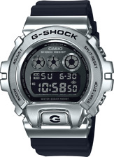 Casio G-Shock Metal Silver Bezel Black-Band GM6900-1 25th Anniversary Brand New