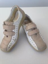 WOMENS HOOTER COMFORT WHITE & NUDE BEIGE VELCRO TRAINERS SHOES UK 5