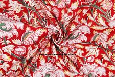 5/10 Yard Indian Red Flower Hand Block Print Cotton Fabric Dressmaking Sewing