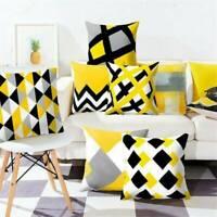 "Fashion Geometric Cushion Mustard Yellow and Grey Scandi Sofa Case Cover 18""x18"""