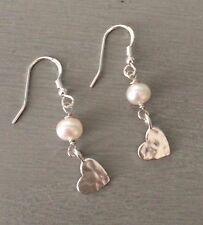 DESIGNER STERLING SILVER FRESHWATER PEARL EARRINGS WITH HAMMERED HEARTS HANDMADE