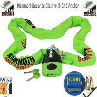 MOTORCYCLE MAMMOTH SOLD SECURE CHAIN LOCK 1.2M +GRID BOLT GROUND ANCHOR SECURITY