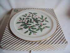 "Vintage Lenox Holly Berry Serving Plate U.S.A. Made In Box 12.50"" Diameter"