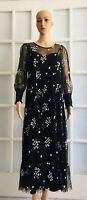 NWD ZARA Black TULLE DRESS WITH EMBROIDERED FLOWER Semi-Sheer Size M O2518