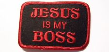 #0557 MOTORCYCLE VEST PATCH JESUS IS MY BOSS