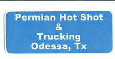 Permian Hot Shot & Trucking Odessa, TX truck driver patch 4X9-3/4 Jacket size