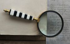 """Vintage Handheld Magnifying Glass With Black And White Striped Brass Handle 4"""""""