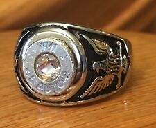 Winchester 45 Caliber Nickel Bullet Men's Eagle Ring Sz 12 With Clear Crystal