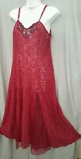 """Woman Within SEXY FULL LENGTH BERRY PINK LACE NIGHTGOWN   SIZE 1X GIFT  46"""" BUST"""