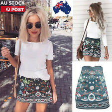 AU Womens Floral Mini Skirt High Waisted Bodycon Mini Skirt Stretch Party Skirts