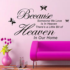 Because Someone We Love Is In Heaven Sayings Words Home Decor Wall Sticker DIY