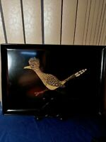 Couroc Serving Tray picture of ROADRUNNER in Gold.  Hand inlay 24karat
