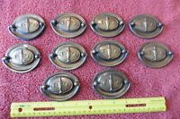 10 Lot Oval Drawer Urn Drop Bail Pull Handle Vintage Brass 1920s Antique Dresser