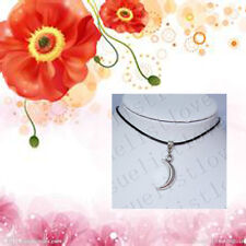 Elegant Moon Crescent Pendant Choker Necklace with Black Genuine Leather Cords