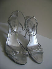 GUESS by MARCIANO HOPEFUL Size 9 SILVER SHOES SANDALS STRAPPY LEATHER WOMEN