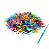 Loom Bands Bandz Rainbow MIX Colour Rubber Refill S Clips DIY Make Bracelet Set