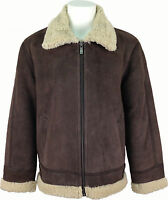 UNICORN Mens High Quality Sheepskin Flying Jacket Aviator Leather Coat #H7