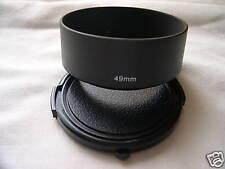 New Metal Standard 49mm Screw-in Lens Hood + Cap