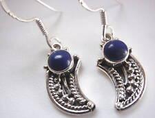 Lapis Lazuli Tribal Style 925 Silver Dangle Earrings