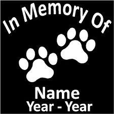 "In Memory Of  w/Paw Prints Decal Pers 5.5""H"
