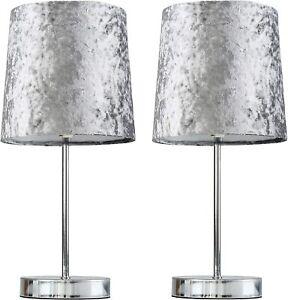 Set of 2 Modern Polished Chrome Silver Grey Crushed Velvet Bedside Table Lamps