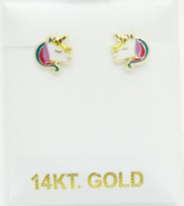 Unicorn 14k Yellow Gold Screw Back Earrings - Unicorn Baby Earring