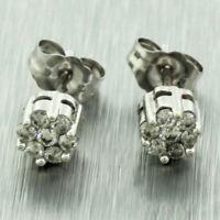 Vintage Estate 14k Solid White Gold 0.30ctw Round Diamond Cluster Stud Earrings